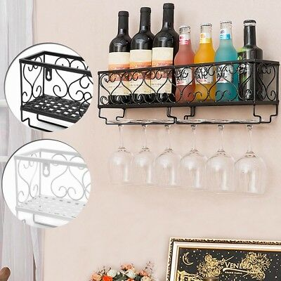 Wall Mount Metal Wine Rack Storage Shelf Glass Holder Hanging Home Kitchen Decor