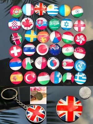 64 Country National Flags Keyring Keychain Souvenir Gift Fridge Magnets Bar Tool