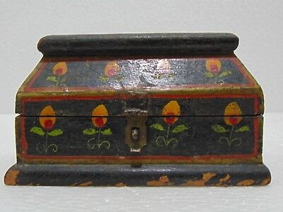Vintage Old Antique Rare Big Wooden Black Floral Print Jewelry Box 150 - 1 #9