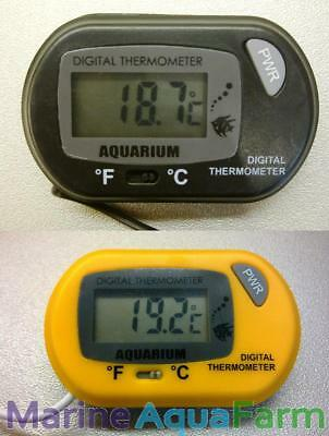 AQUARIUM DIGITAL THERMOMETER, BLACK or YELLOW, FISH TANK TEMPERATURE, PROBE