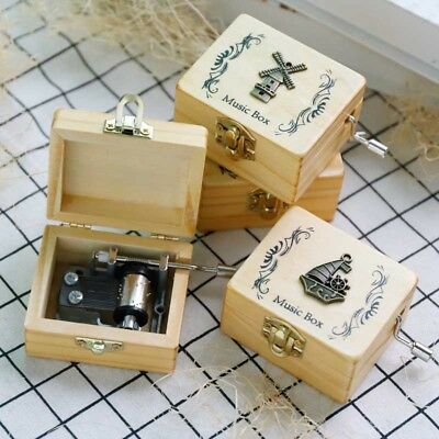 Music Box Wooden Hand Children Gifts Durable Engraved Antique
