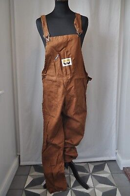Vintage Faithful brown heavy cotton denim Dungarees Size large work wear
