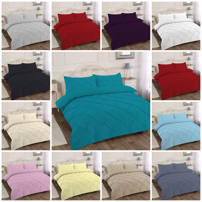 Duvet Cover Set PINTUCK Pillowcase Quilt Cover Bedding_Single Double King S King