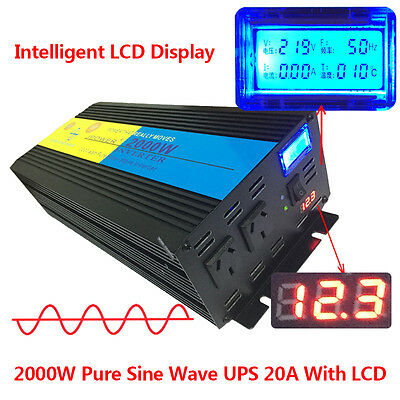4000W Peak Pure Sine Wave Power Inverter DC 12V to AC 240V with LCD UPS Charger