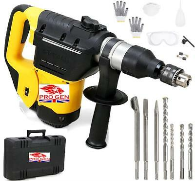 1200W Progen Heavy Duty 4 in 1 Rotary SDS Hammer Drill 230V & Chisels in Case