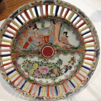 Famille Rose Plate. Pierced