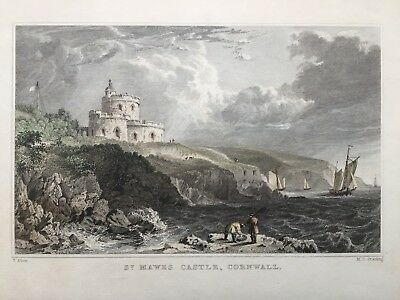 1832 Antique Print; St Mawes Castle, near Falmouth, Cornwall after Thomas Allom