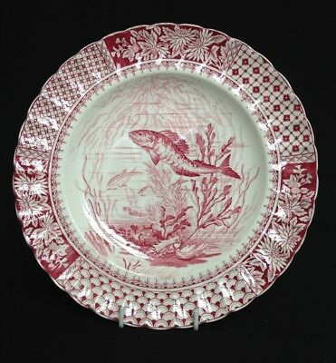Antique Copeland & Sons Aesthetic Movement Plate - Fish - c.1884