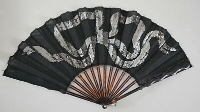Antique Hand Fan With Black Lace & Silver Sequin Bow In Box