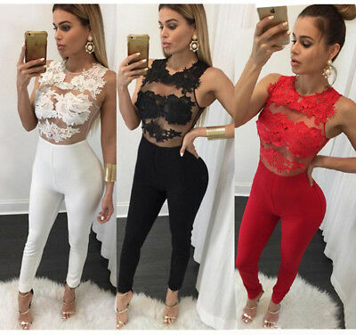 UK Womens Bandage Evening Party Playsuit Ladies Romper Long Jumpsuit Clubwear