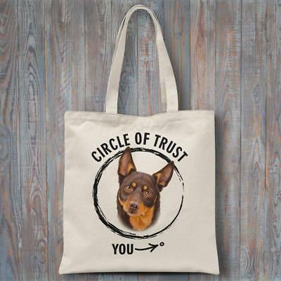Funny tote bag CIRCLE OF TRUST (Kelpie) 37x40cm dog lover gift