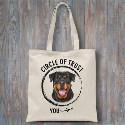 Funny tote bag CIRCLE OF TRUST (Rottweiler) 37x40cm dog lover gift