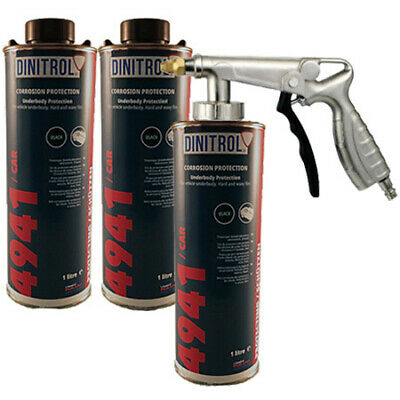 3 x DINITROL 4941 UNDERBODY CHASSIS RUST PROOFING BLACK WAX 1 LITRE + SPRAYGUN
