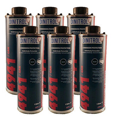 6 x DINITROL 4941 UNDERBODY CHASSIS RUST PROOFING BLACK WAX 1 LITRE