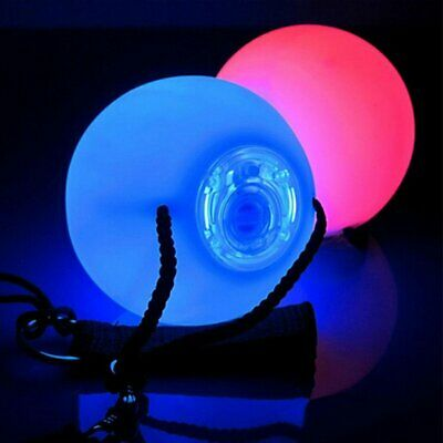 Fashion LED Balls Belly Dance Poi Multi-Colored Glowing Thrown Level Hand EU