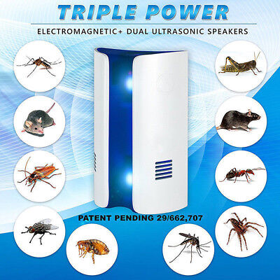 UK Ultrasonic Electronic Plug Rat Mouse Spider Insect Pest Repeller Deterrent