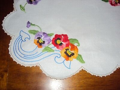 Vintage  Embroidered Centrepiece - Pansies - White Linen - Perfect - 42Cm X 28Cm