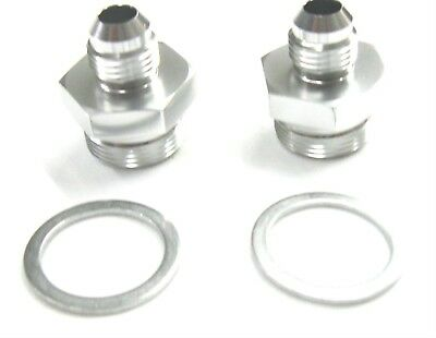 Holley Fuel Inlet Fittings 06 an x 7//8-20  long 2 pcs Show Polished Black