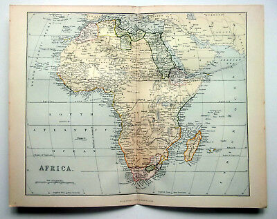 Vintage 1890 Africa Colour Map