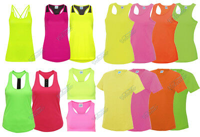 Bright Flourescent Ladies Sports Tops, Girlie Cool Vests For Workouts, Running
