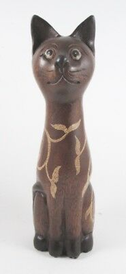 Chat long cou bicolore sculpté en bois de Suar - 30x8