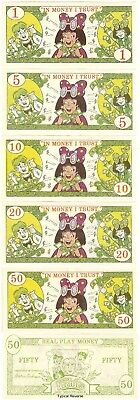 1987 Archies Play Toy Money BETTY Set of 5