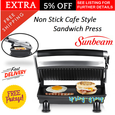 Sunbeam Grilled Sandwich Maker Toasted Cheese Toastie Toaster New Press Grill