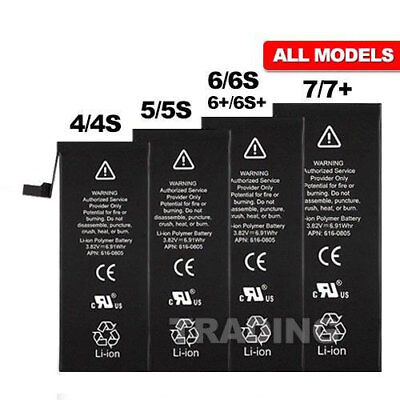 High Capacity Battery Replacement For Apple iPhone 4 4s 5 5C 5s 6 6s 7 Plus