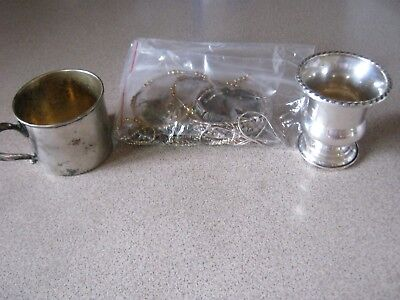LOT OF STERLING SILVER, CHILDS CUP AND TOOTHPICK HOLDER, SCRAP? 250 Grams!