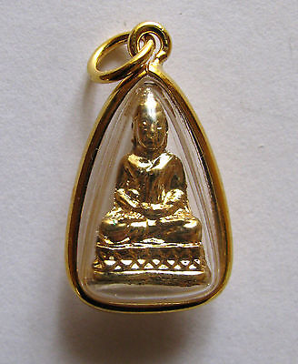 Amulett in 23 Karat vergoldeter Fassung, Buddha in der Yoga-Position!!!