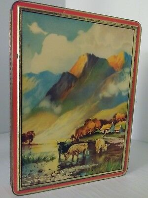 Vintage W&M Duncan ltd Edinburgh Scotland Tin. Water Buffalo, Mountains, Trees.