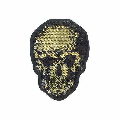 Sequin Skull (Iron On) Embroidery Applique Patch Sew Iron Badge
