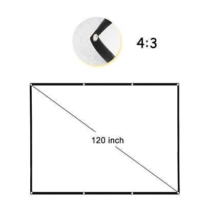 120 Inch HD 4:3 Foldable Projection Screen White For Projectors In/Outdoor