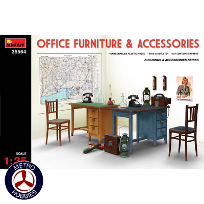 Miniart 1/35 Office Furniture & Accessories 35564 Brand New
