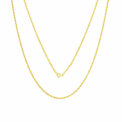 10K Yellow Gold Diamond Cut Womens Dainty 1.5mm Rope Chain Pendant Necklace 18""