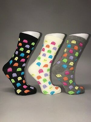 3 Pairs Ladies Womens Cotton Rich Everyday Use Pacman Design Funky Socks 4-7 UK