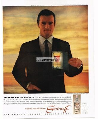 1963 SMIRNOFF Vodka ROBERT GOULET Bloody Mary Recipe Vtg Print Ad