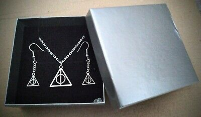 Harry Potter 'The Deathly Hallows' Chain & Ear Rings Set - Silver : New & Boxed