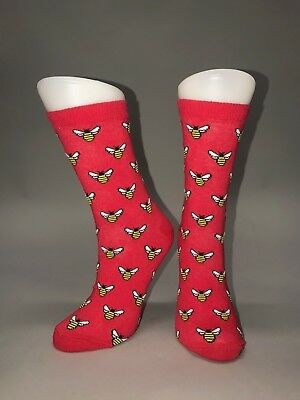 Ladies Womens Cotton Red Bee Design Funky Socks Everyday Use 4-7 UK
