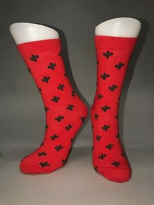 Ladies Womens Cotton Red Cactus Design Funky Socks Everyday Use 4-7 UK