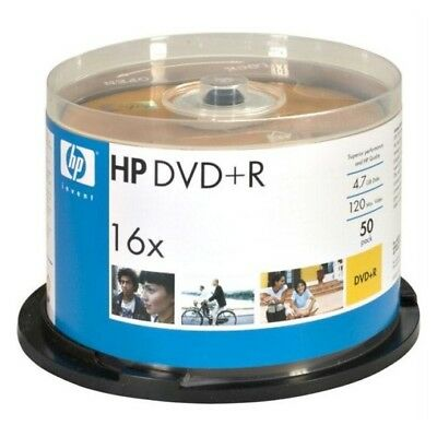 50 Count DVDs HP Hewlett Packard Recordable Media Discs 16X 4.7GB DVD+R Spindle