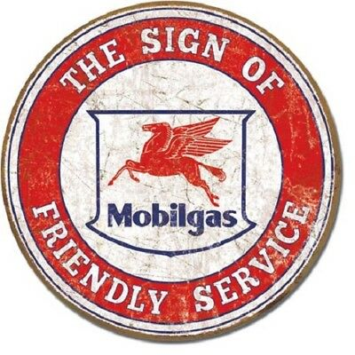 "11.75"" TIN SIGN ROUND MOBIL GAS PEGASUS friendly service METAL SIGN NEW"