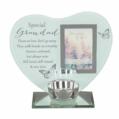 """Thoughts of You"" Glass Photo Frame Memorial Tea Light Candle Holder - Grandad"