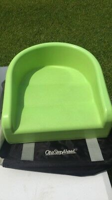 Gently Used One Step Ahead Green Portable Booster Seat with Bag