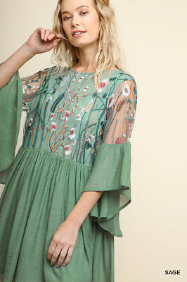 UMGEE Sage Floral Embroidered Angel Sleeve Dress Plus Size XL