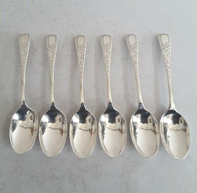 Pretty, Engraved Set 6 Antique Solid Silver Tea Spoons.       Sheffield. 1891.