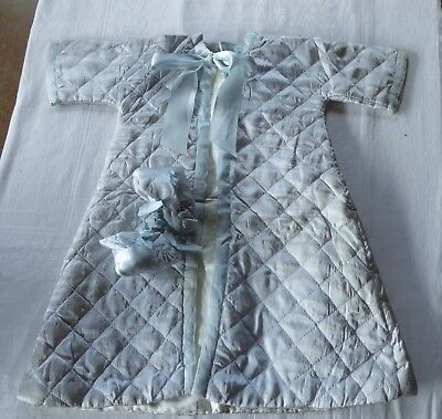 Antique Vintage Blue Satin Robe & Booties Baby Infant Quilted Lined