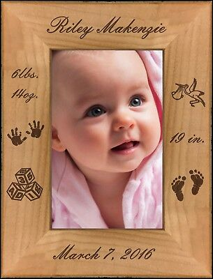 Personalized New Born Baby Custom Engraved Alder Picture Frame 4 Sizes Available