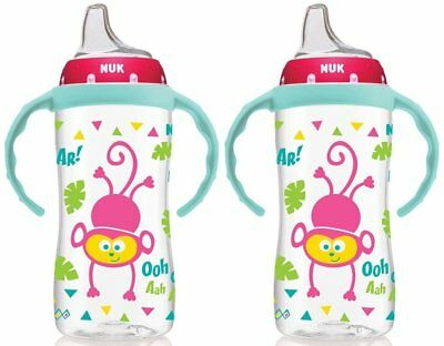 NUK 2 Pack 10 Ounce Jungle Large Learner Cup With Handles (Damaged Packaging)