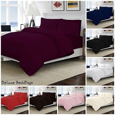Plain Dyed Duvet Cover Polycotton Bedding Set+PillowCase_Single Double King SKng